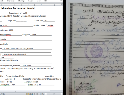Birth Certificate Translation in Urdu or English