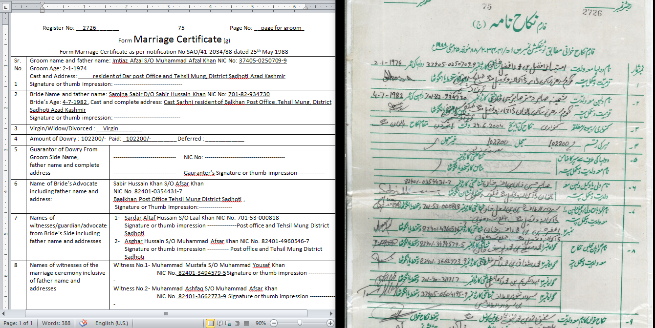 Marriage Certificate Translation From English To Urdu Or